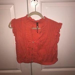 Tops - Orange cropped shirt